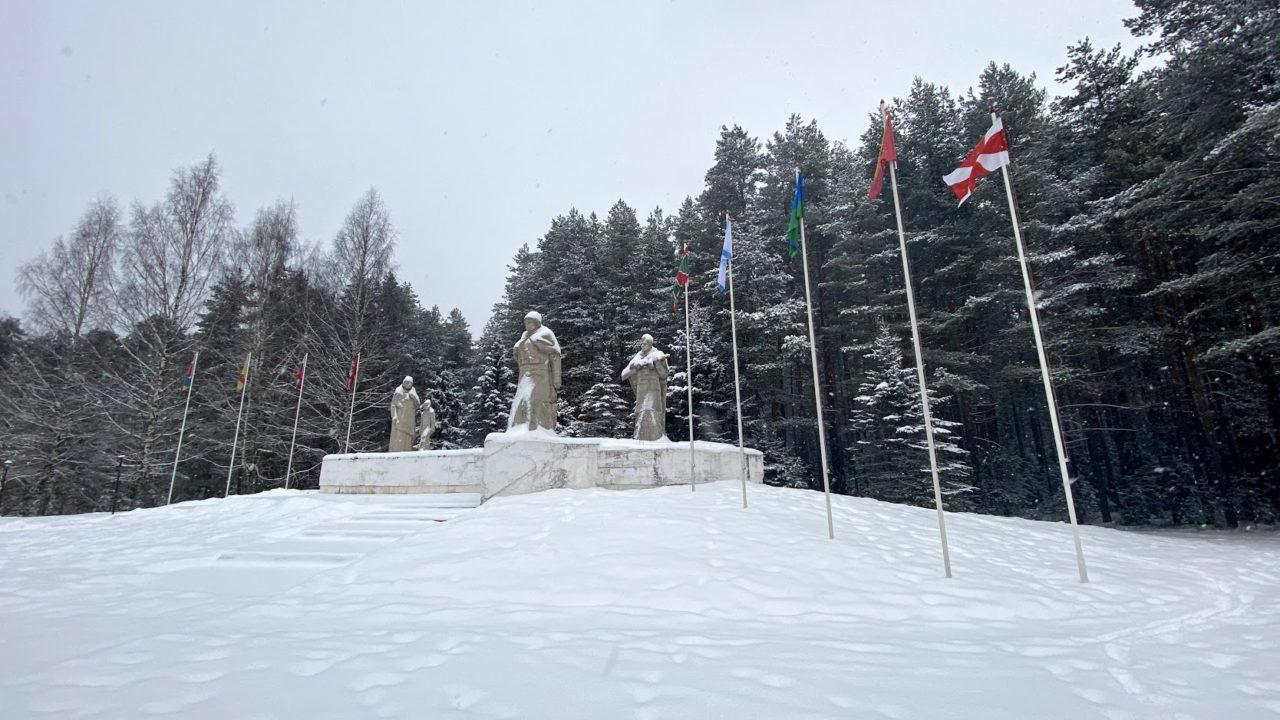 Прогулка до обелиска воинской славы во время снегопада